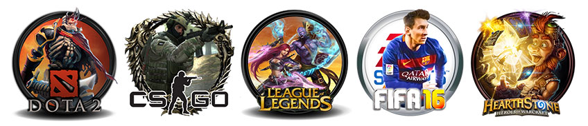 Dota 2 CS GO League of Legends FIFA 16 Hearthstone