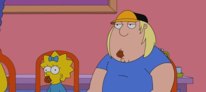 Chris Griffin and Maggie Simpson